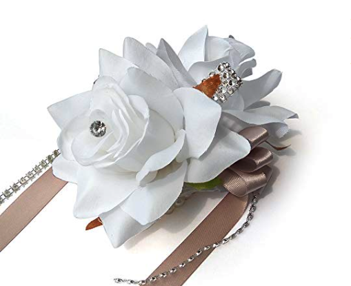 White Roses Wrist Corsage - In Ancient Greece, corsages were used to ward of evil spirits. At the Phoenix fest, they're worn as a sign of hope and renewal.