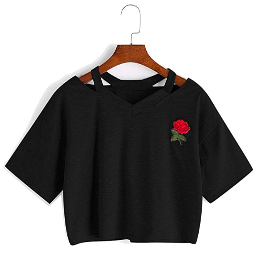 Black t-shirt - Sure, red stripes are great, but have you ever worn a red rose instead? Try it to experience the coolness for yourself.