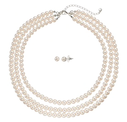 Three-strand pearl necklace -