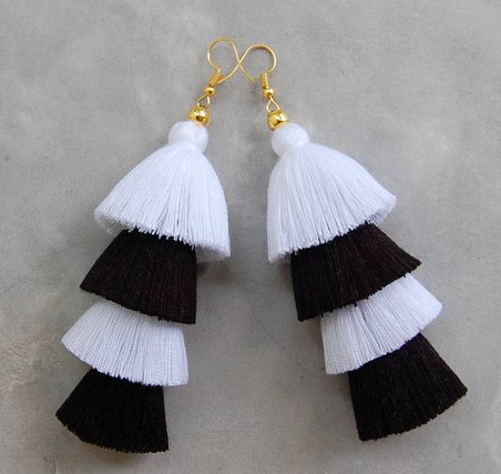 Black and white tassel earrings -