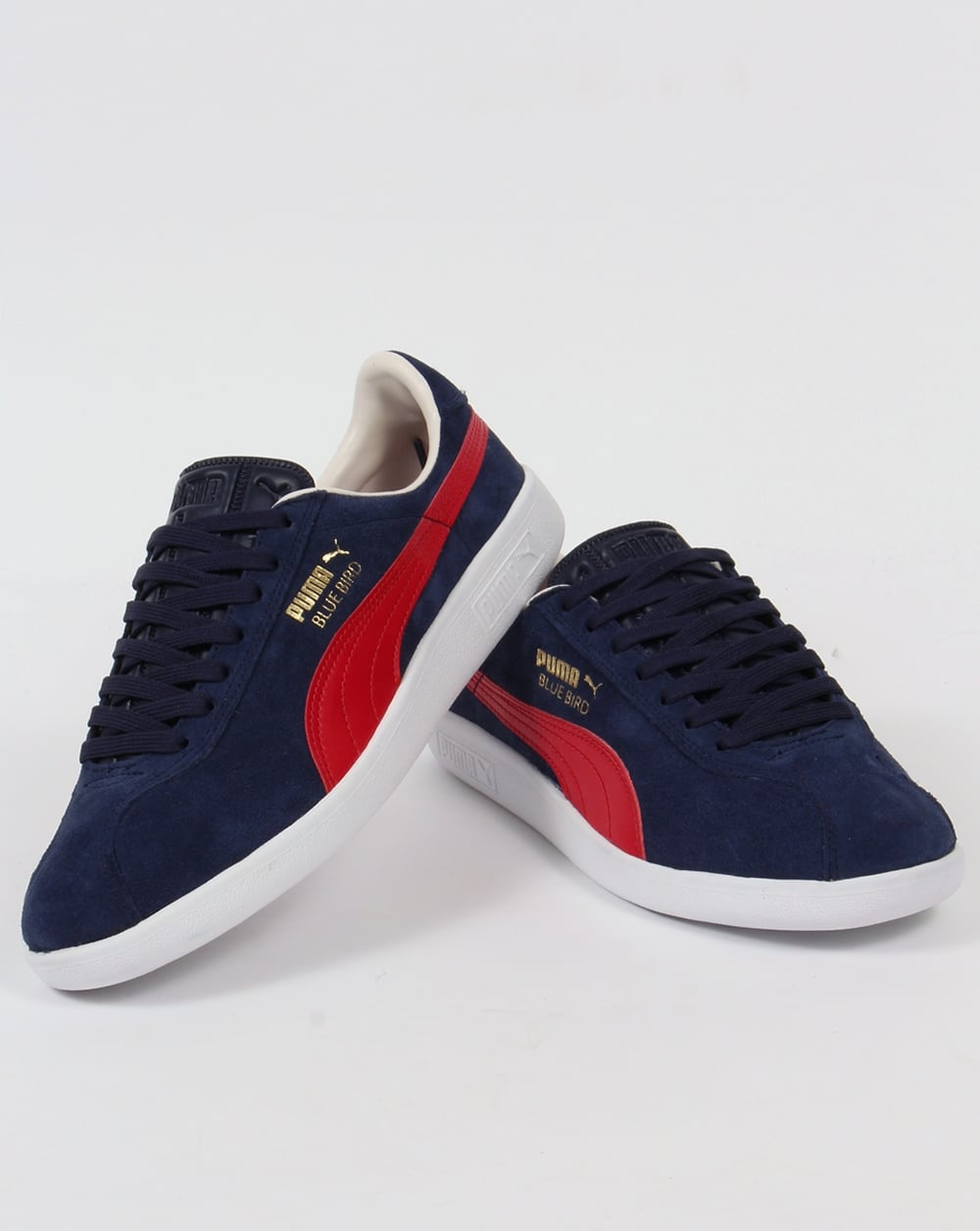 Red and navy sneakers -