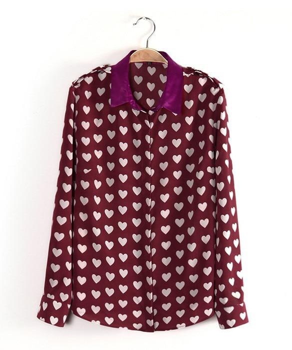 Red, chiffon blouse with heart polkadots -