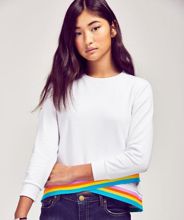 White and rainbow Sweatshirt -