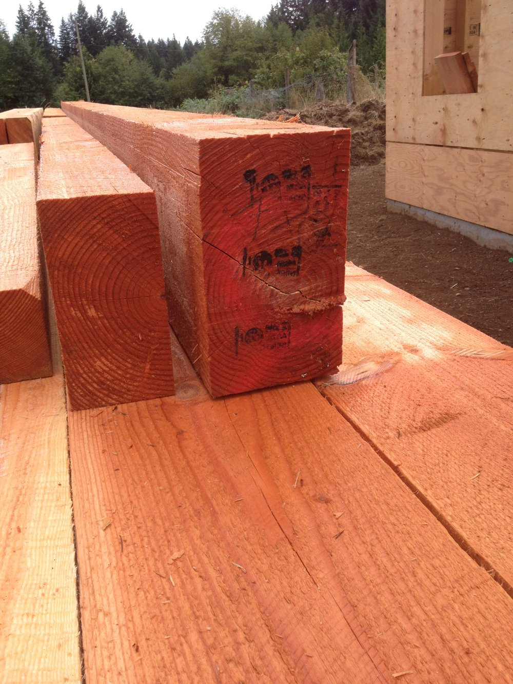 CCFC wood stamped and loaded onto the truck heading to Courtenay for Zoe's farmhouse renovation.