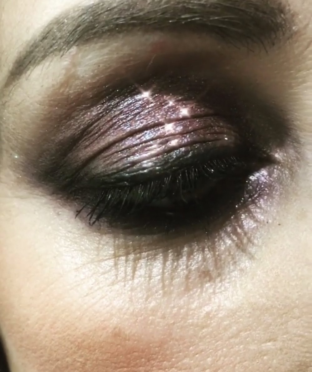 This shadow is like diamonds on your eyes! Super sparkly and so easy for a party look.