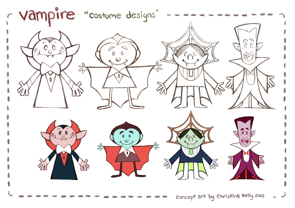 Vampire character designs done for Hero4Hire Creative for a Hub commercial