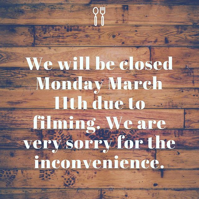 We will be closed tomorrow (Monday), but back making delish food for ya all on Tuesday. See ya then. 😜