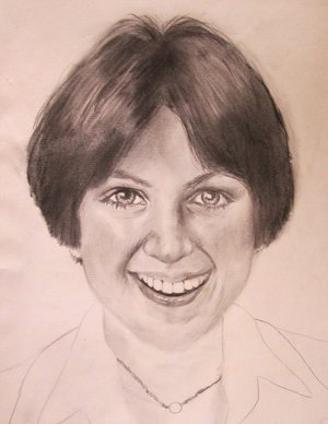 Drawing of Dorothy Hammill by David Borzo, 1977