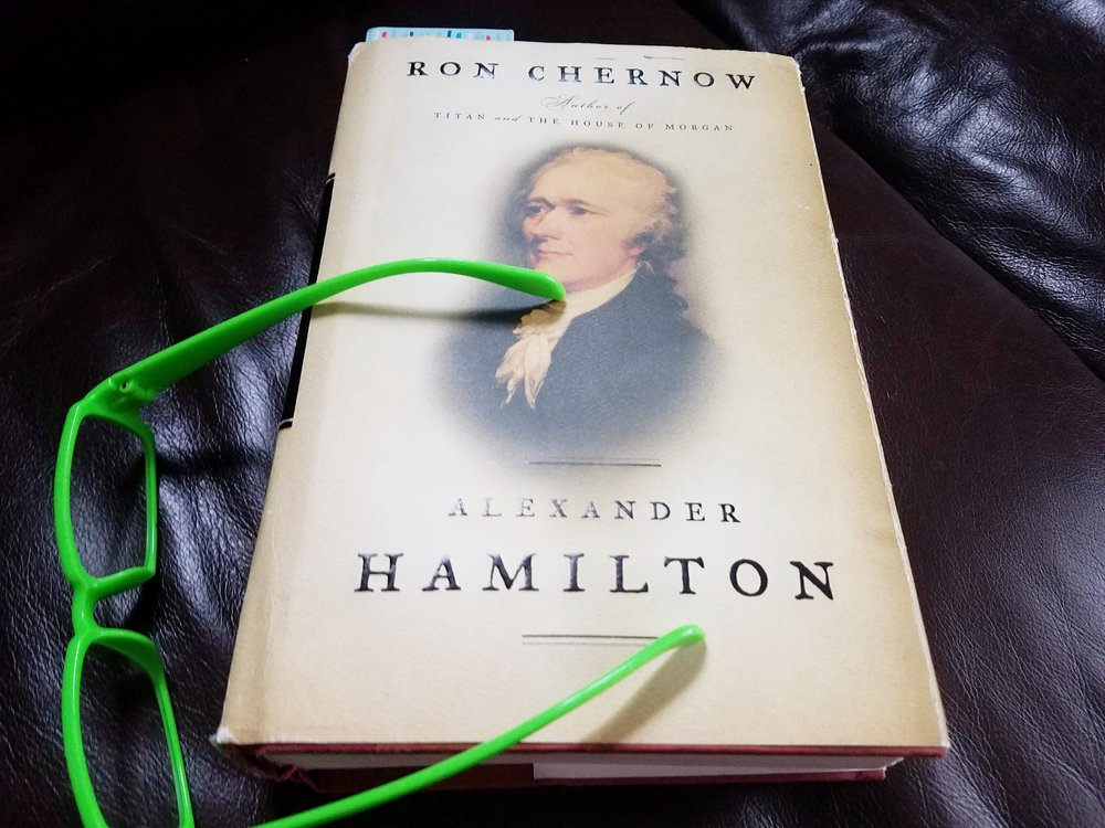 The Real Lives Book Club selection for January and February 2019 is Alexander Hamilton by Ron Chernow. The book will be my constant companion. Let's meetup and read at the coffee shops!