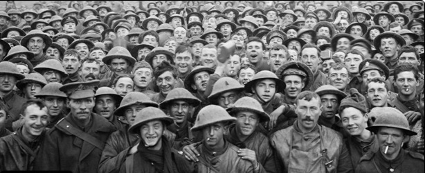 WW1 Group of Soldiers mug for the camera. Via  Flickr.com