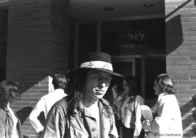 John Trudell Outside of the Senator Hotel