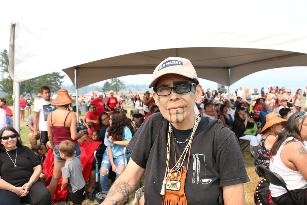L. Frank Manriquez of the Paaxmiwoven canoe family from California (Julian Brave NoiseCat)