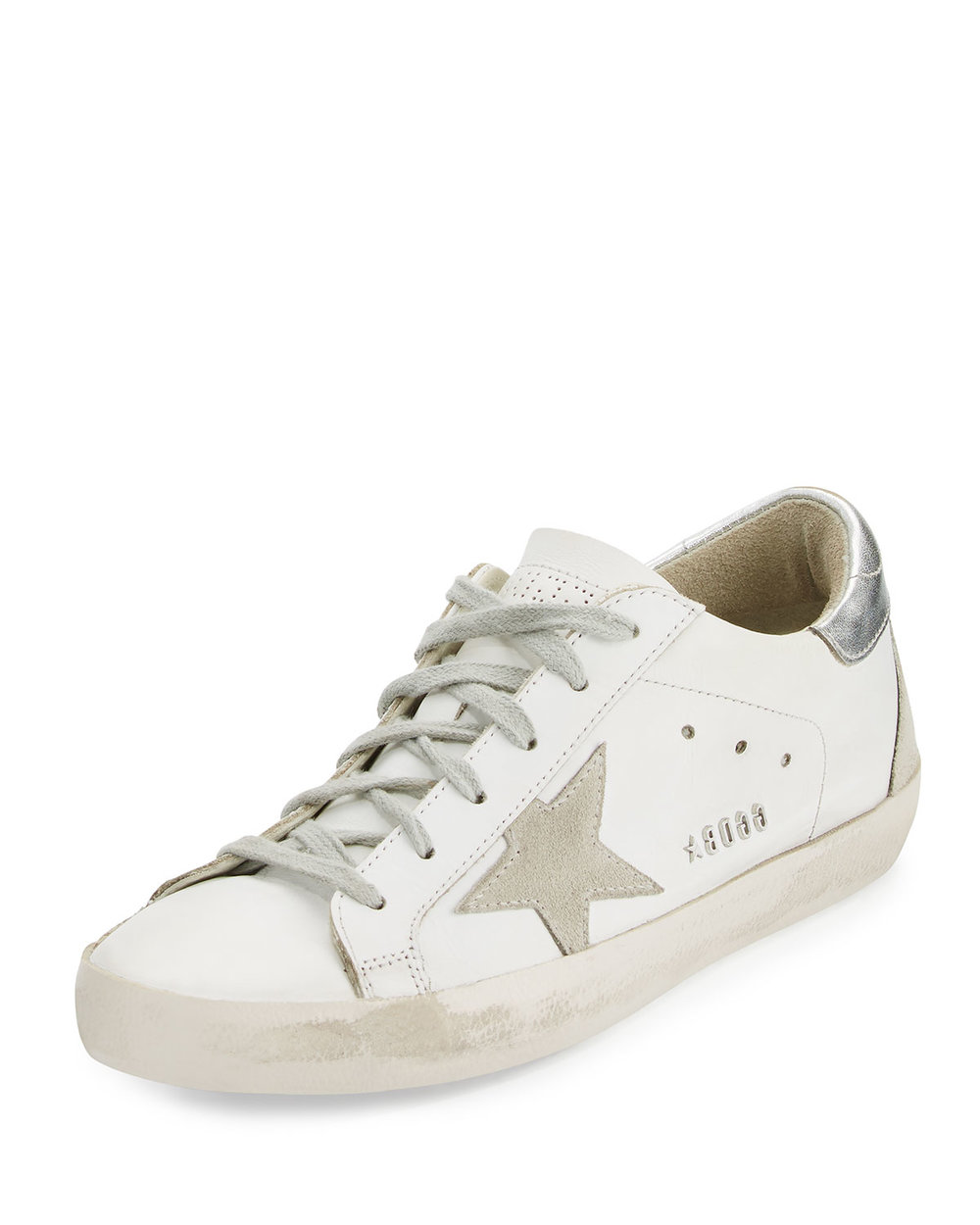 Golden Goose Distressed Leather Low-Top Sneakers, White/Silver