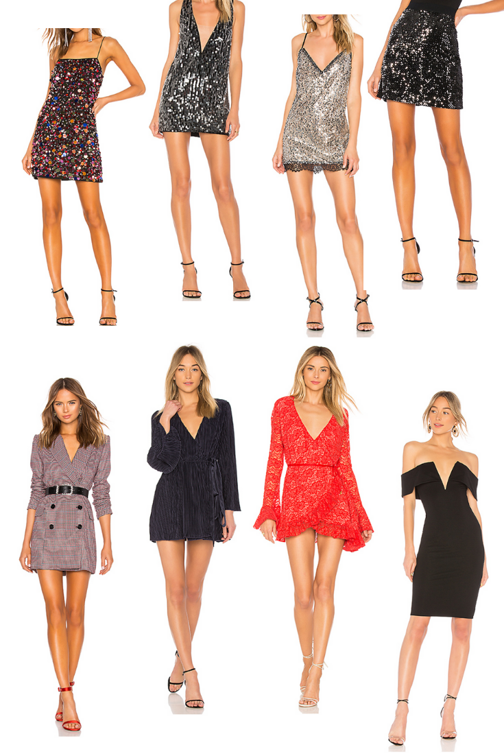 Line 1:  Lovers + Friends Chloe Mini Dress  |  NBD Bexley Dress  |  h:ours Neely Mini Dress  |  Sanctuary   Ready For the Night Sequins Mini Skirt   Line 2:  LPA   Double Breasted Coat  |  L'Academie     The Florence Dress  |  Hot As Hell Wrap Star Dress  |  NBD Bishop Midi