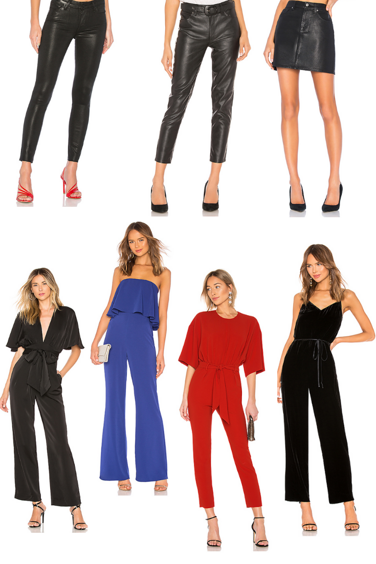 Line 1:  Paige Verdugo Ankle  |  Free People Belted Vegan Leather Skinny Pant  |  7 For All Mankind Coated Mini Skirt  Line 2:  Chrissy Teigen x REVOLVE Elaine Jumpsuit  |  Lovers + Friends Nikki Jumpsuit  |  IRO Appreciate Jumpsuit  |  Rag & Bone Jamie Velvet Jumpsuit