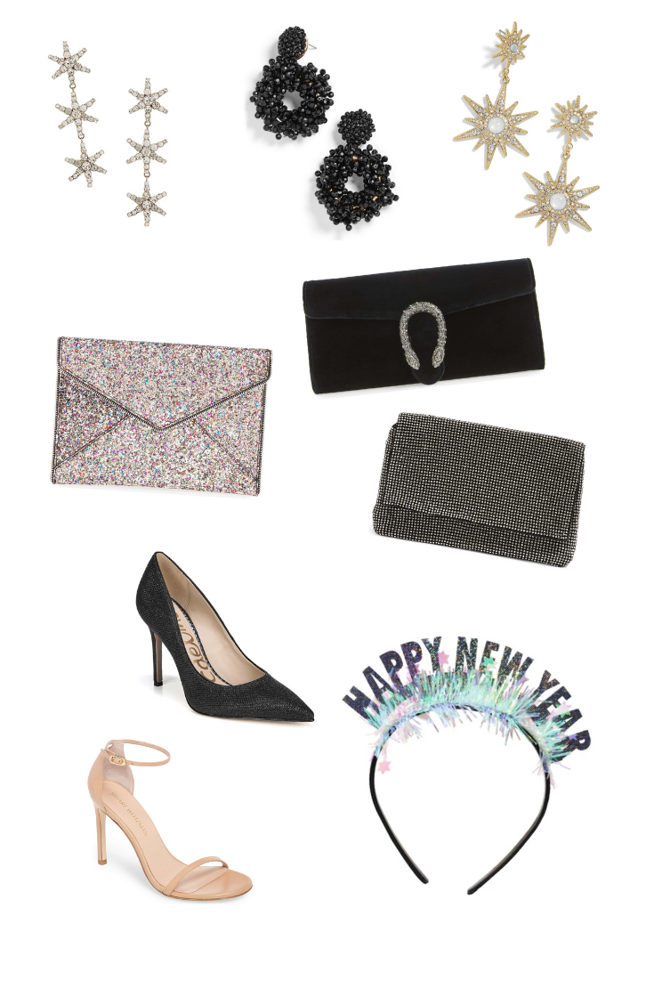 Jennifer Behr Aurora Earrings  |  Baublebar Eve Beaded Drop Earrings  |  Baublebar Celestial Drop Earrings  |  Rebecca Minkoff 'Leo' Envelope Clutch  |  Gucci Dionysus Velvet Clutch  |  Topshop New Diana Clutch Purse  |  Sam Edelman Hazel Pointy Toe Pump  |  Stuart Weitzman Nudistsong Ankle Strap Sandal  |  New Year Party Tiara