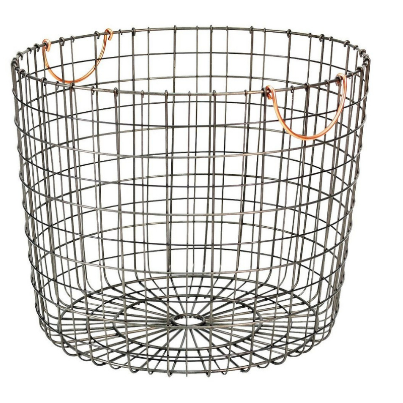 Antique Pewter Basket with Copper Handles -