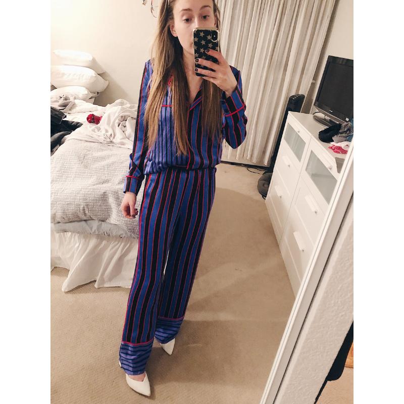 Alice + Olivia Keir Piped Silk Pajama Shirt    +    Alice + Olivia Benny Stripe Silk Pajama Pants