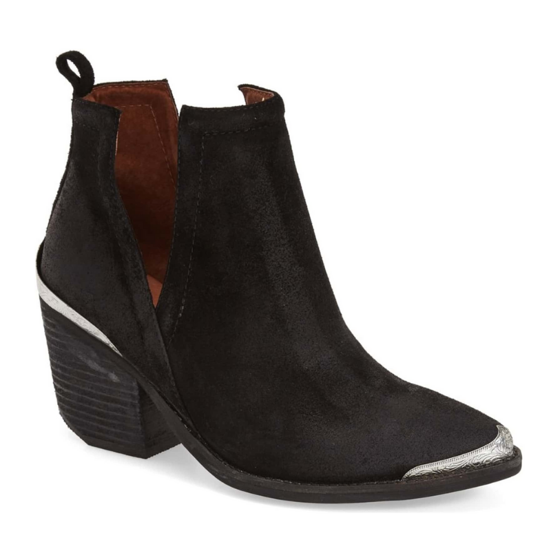 Cromwell Cutout Western Boot in Black Distressed Suede