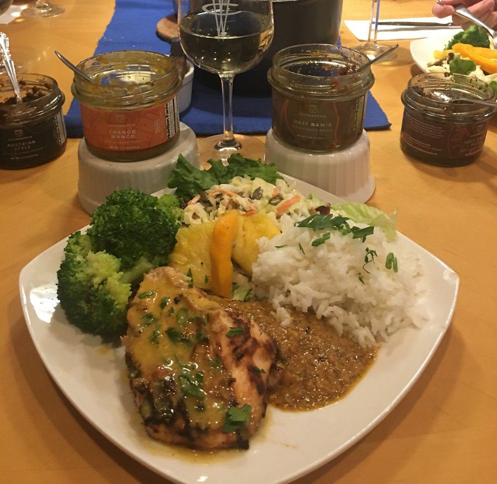 Chango Mango Chicken  - Grilled Chicken Breasts with Coconut Milk and Essendorfer's  Chango Mango  Sauce   Oase Namib Chicken  - Grilled Chicken Breasts with Coconut Milk and Essendorfer's  Oase Namib  Pesto
