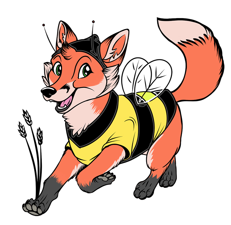 Our Fox mascot in his bee outfit to fit right in with our Honey Bees