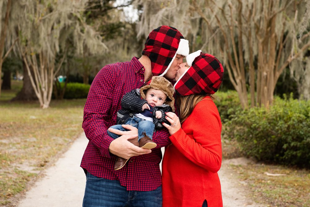 Charleston Family Christmas Card Photos by Reese Moore Photography in Hampton Park in Charleston, SC