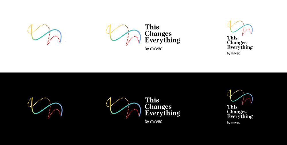 Mirvac This Changes Everything logo designs on black and white