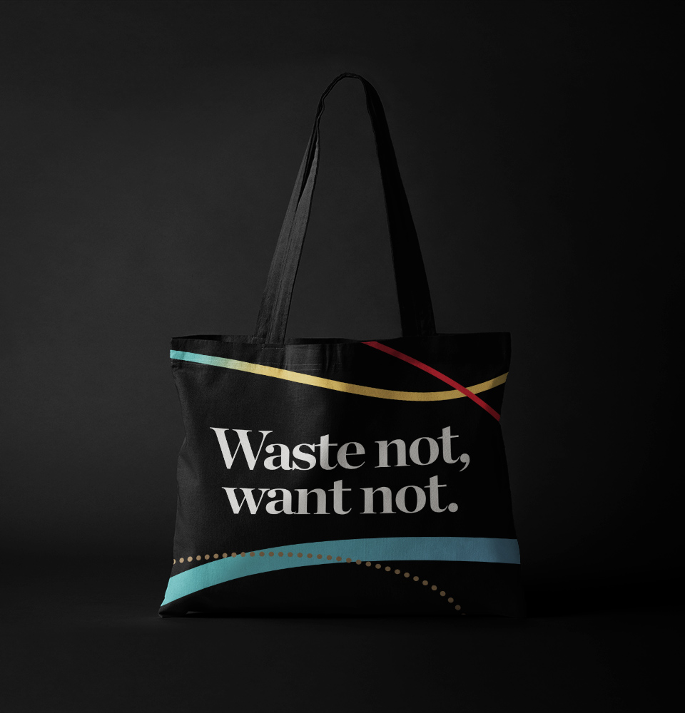 Mirvac This Changes Everything black waste not, want not tote bag