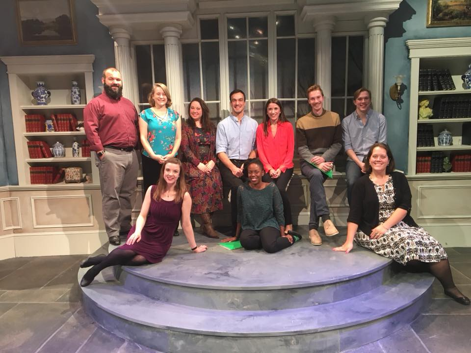 The Jane Austen Explosion  - Main Street Theatre, 2017. Top Row: Deion Adkins, Shannon Emerick, Chaney Moore, Alan Brincks, Laura Kaldis, Jacob Mangum, Blake Jackson. Bottom Row: Lindsay Ehrhardt, Brittny Bush, Elizabeth A. M. Keel.