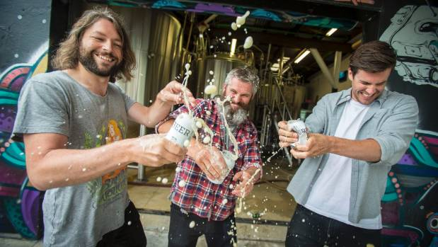 Garage Project brewery founders from left, Jos Ruffell, Pete Gillespie, and Ian Gillespie. The Wellington outfit won last year's Brewers Guild of New Zealand Awards; an annual event being held in Nelson this weekend.  ROBERT KITCHIN/Fairfax NZ