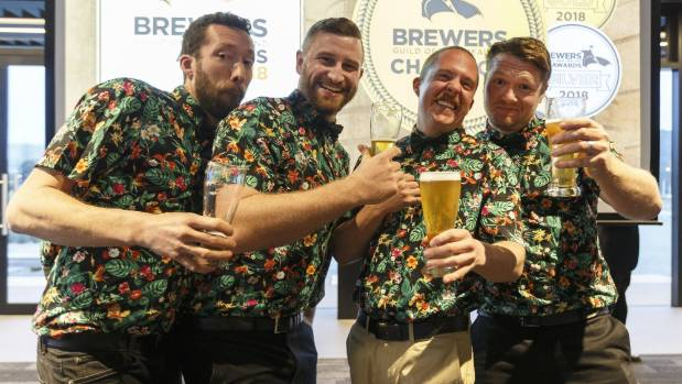 The team from Double Vision Brewing Mario Lanz, left, Evarn Flaunty, Warren Drahota, and Harry Henriksen at the Brewers Guild Awards held at Trafalgar Centre, Nelson. Image by Virginia Woolf.