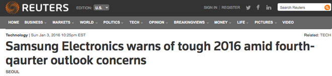 Samsung again warning on profits last qaurter [sic], as it did last year