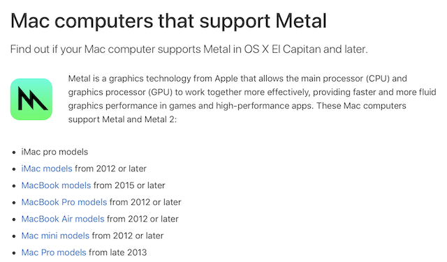 Mojave requires a Metal-capable GPU