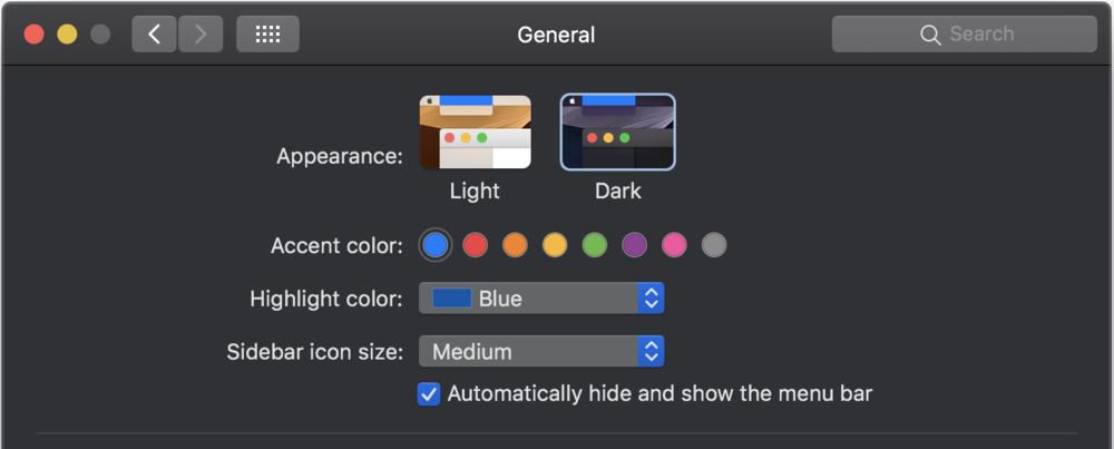 Light and Dark Appearance settings in System Preferences
