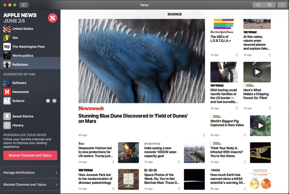 Mojave's News app is built using UIKit, but looks and works like other Mac titles. You can dismiss the sidebar to focus on a single, uncluttered view of an article.