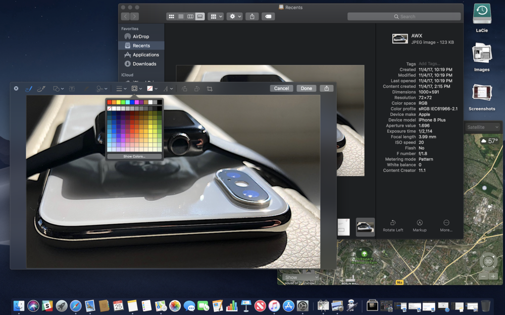 Mojave features a Dark Mode, Stacks for organizing the Desktop, a Finder Gallery view with full metadata and common editing tools, Markup in Quick Look views, new apps including News, and lots of other iOS-familiar features.
