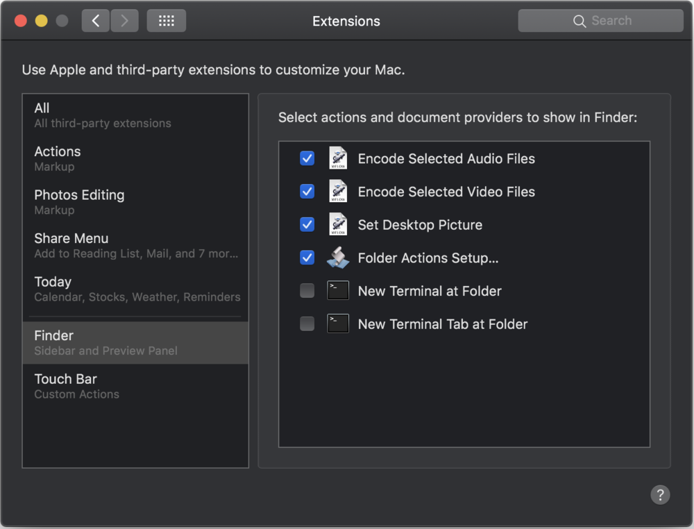 You can now add Automator Actions to the Finder's Preview Panel, the Touch Bar or the Services menu.