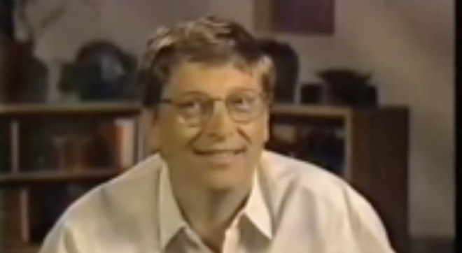 Bill Gates appeared relieved to announce an investment in Apple in 1997