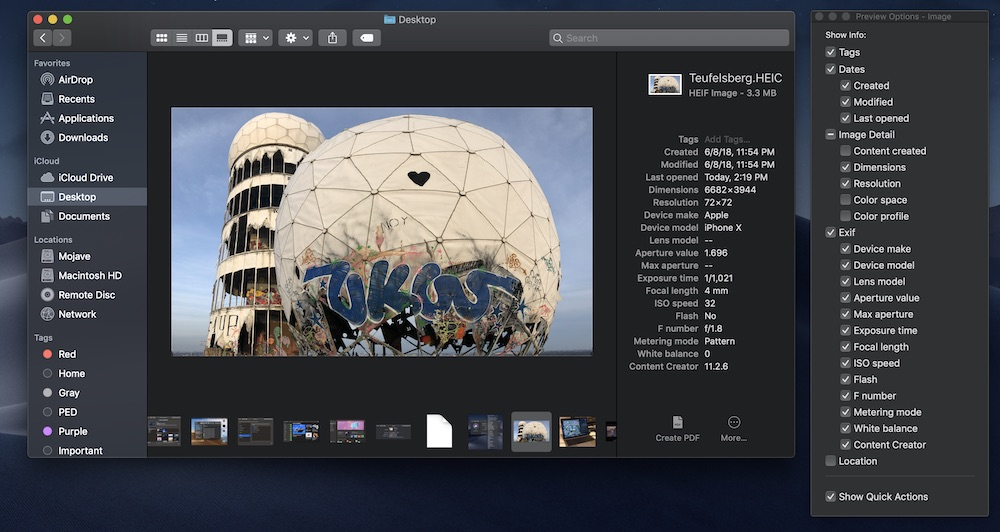 The metadata shown in the Preview Column in Gallery View is customizable.