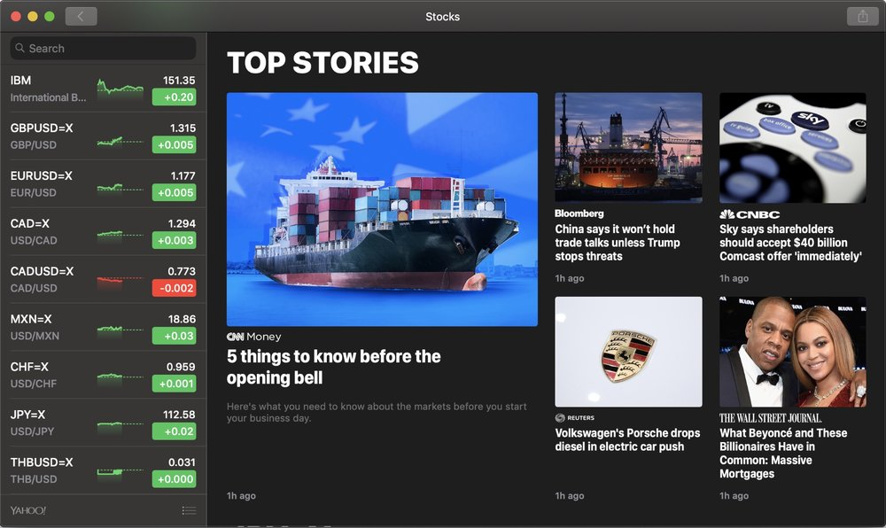New Stocks and News apps come from iOS, but look and feel even better on the Mac.