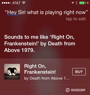 Shazam has been integrated into Siri since iOS 8