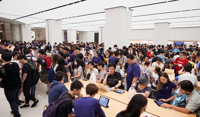 Apple customers visiting its Taipei 101 flagship store in Taiwan