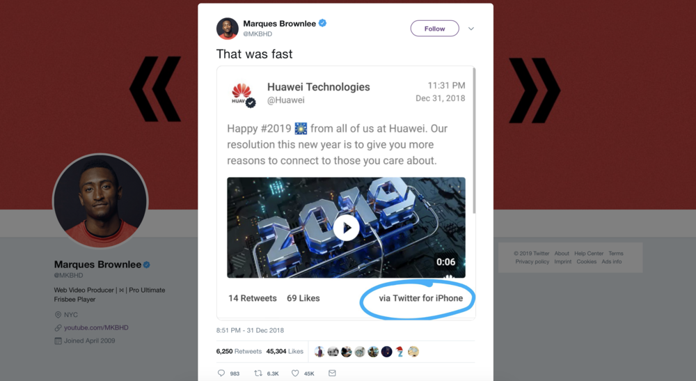 Huawei was the first Android maker to tweet from an iPhone in 2019