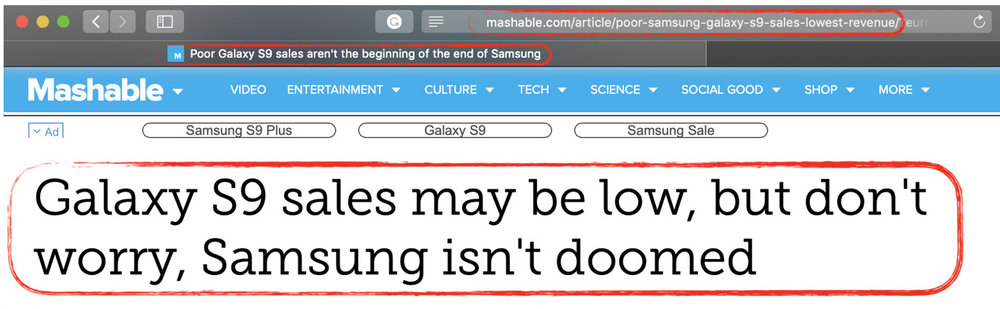 The URL, page title and headline indicate increasingly strident efforts to tone down this story about Samsung's performance