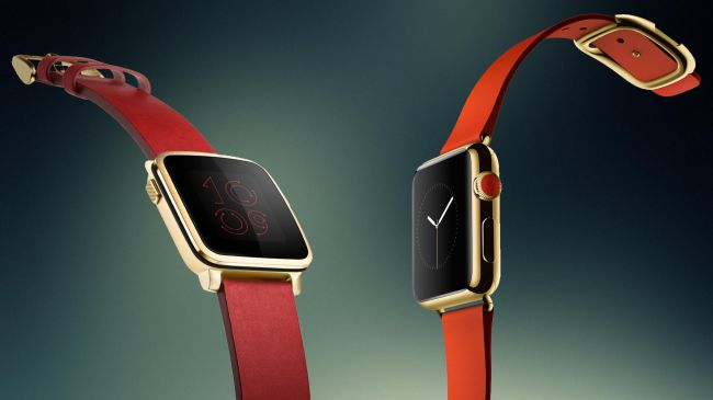 "Pebble's wearable was described as ""maybe"" being a competitor to the upcoming Apple Watch"