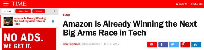 """""""The most convincing evidence of the Seattle-based giant's advantage? Alexa, Amazon's voice assistant, is dominating this year's CES,"""" Eadicicco wrote."""