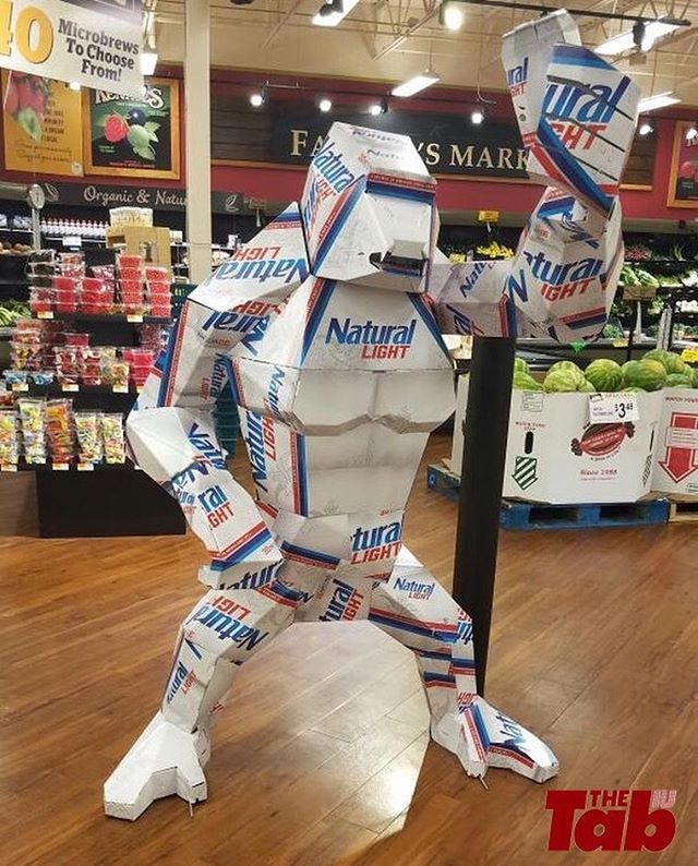 It's even holding a natty light can. This is so creative.