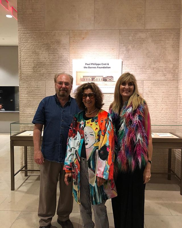 """A mighty team- A beautiful afternoon and evening at the Philadelphia Museum of Art of Dance at the Barnes with my amazing filmmaker , Warren Bass and the talented fashion designer Nancy Volpe Beringer featuring her newest creation with my art and graphics!"