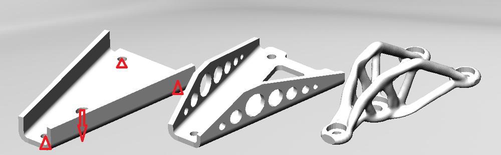 ブラケット 基本:18.35㎤ 最適化後:16.26㎤ トポロジー最適化後:12.75㎤ 株式会社3D Printing Corporation