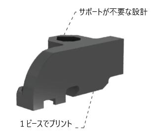 - MarkforgedでプリントしたパーツStanley Infrastructureのエンジニアは、Metal Xでプリントする用にパーツを再設計しました。4つの構成パーツではなく、サポートなしで一つの部品をワンピースでプリントできるように設計を変更しました。